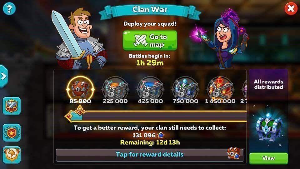 Интерфейс игры с клановой войной
