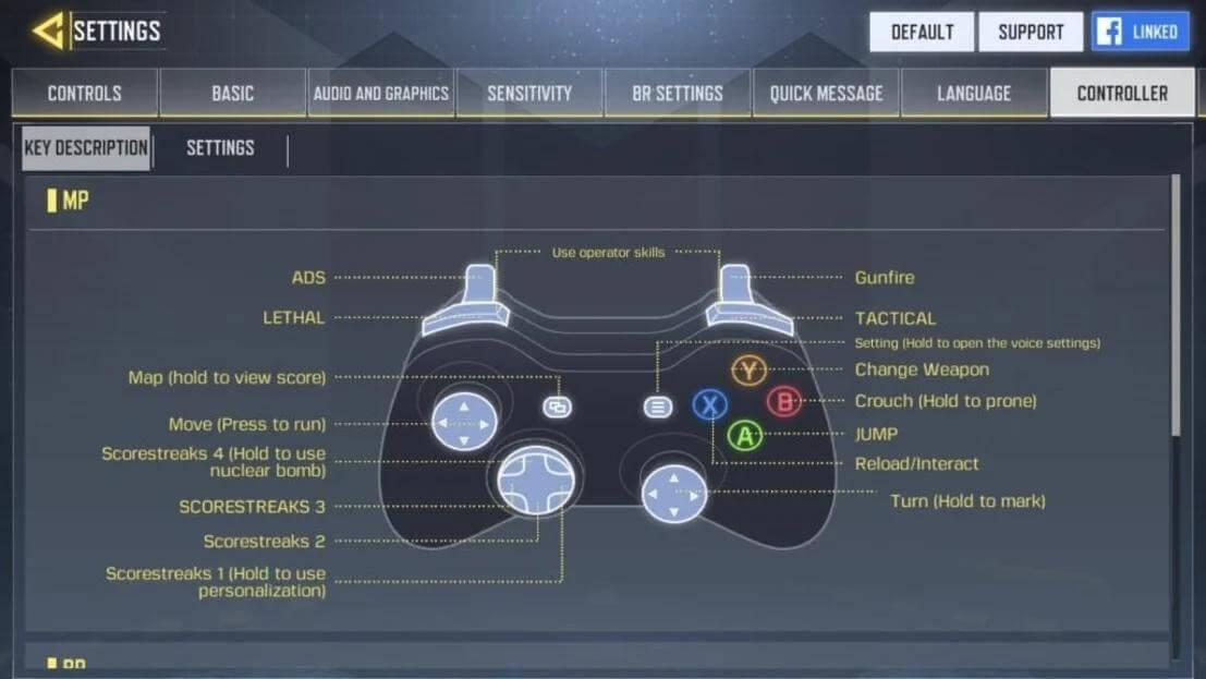 Настройка управления на геймпаде