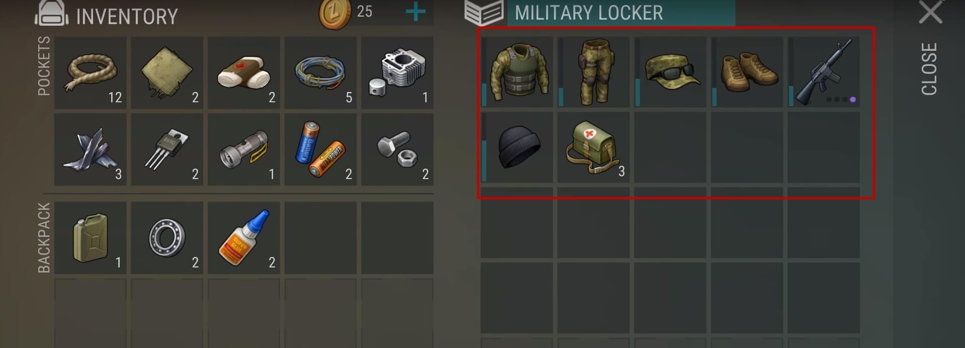 Одежда и автомат с ящика