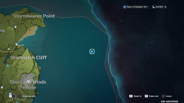 Отмечена точка на карте Genshin Impact